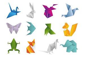 Origami Animals set. Geometric