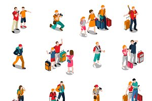 Travel people isometric icons
