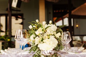 Set table for a white and aqua blue