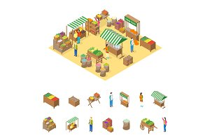 Farm Local Market Concept 3d Set