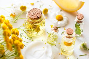 bottles with natural cosmetics