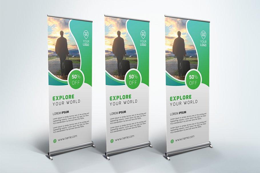 Travel Roll Up Banner Creative Templates Creative Market