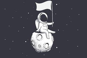 Astronaut holds a flag