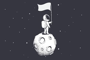 Astronaut holds a flag on Moon