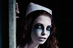 Terrible evil crazy nurse. Zombie