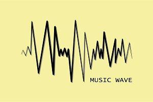 Black pulse music player. Audio wave