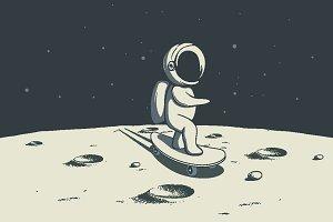 astronaut rides on skateboard on Moo