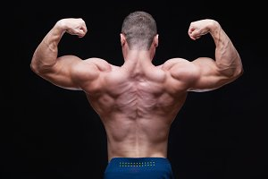Rear view of healthy muscular young