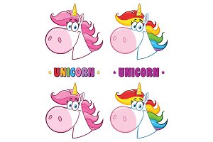 Magic Unicorn Head. Collection Set