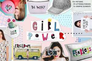 Girl Power Feminist Graphic Set