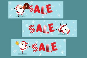 Christmas Sale Banners With Santa
