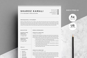 Resume/CV Template 4 Pages Pack