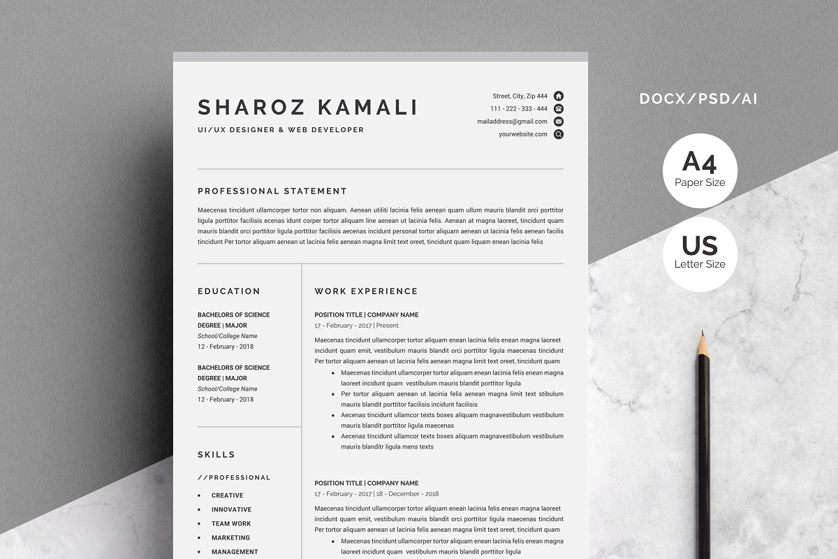 Resume/CV Template 4 Pages Pack ~ Resume Templates ...