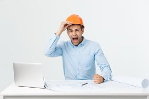 Young Engineer angry during working