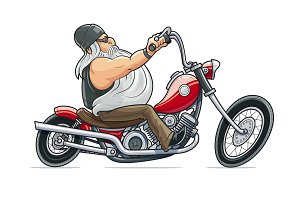 Biker ride at motorcycle. Cartoon