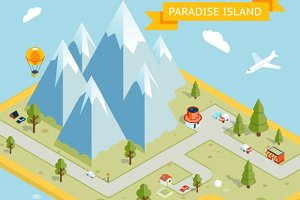 Travel banner. Paradise island