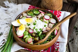 Russian cold soup okroshka