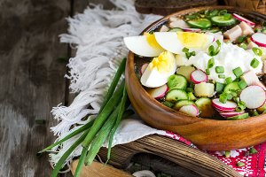 Russian cold soup okroshka backgroun