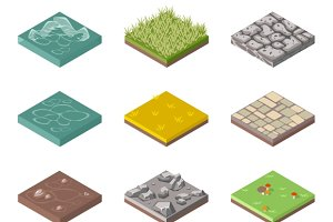 Ground surfaces Grass, rocks & water