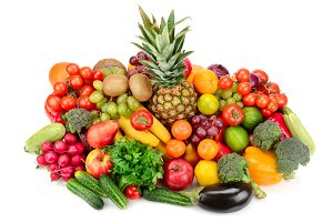 Collection of bright fresh fruits an