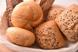Different types of bread on basket