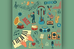 Colored hand draw music icon set