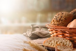 Basket with bread on table kitchen