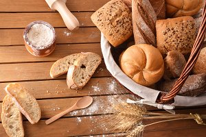 Assortment of breads general view