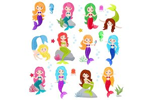 Mermaid vector cartoon seamaid