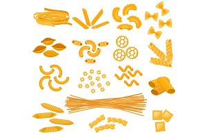 Pasta vector cooking macaroni and