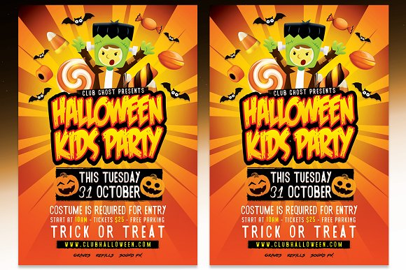 Halloween Kids Party Psd Template Flyer Templates Creative Market