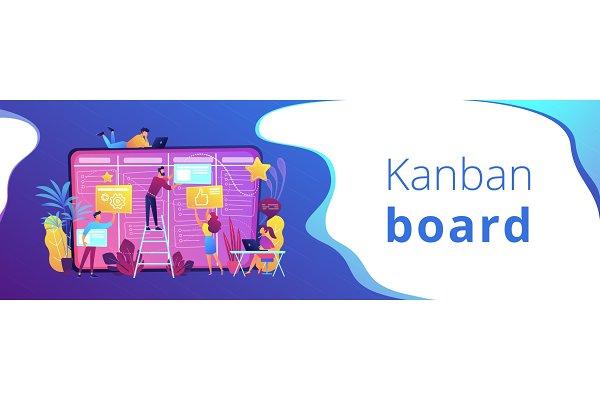 Kanban board header or footer banne…