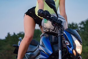 Girl on a sport Motorcycle