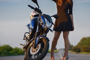 Beautiful girl and Motorcycle