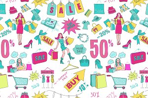 Colored Sale seamless pattern