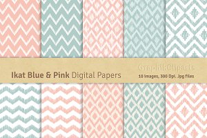 Ikat Blue & Pink Digital Papers