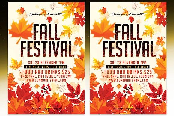 fall festival flyer psd template flyer templates creative market