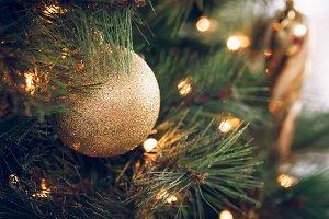 Seasonal background with Xmas tree