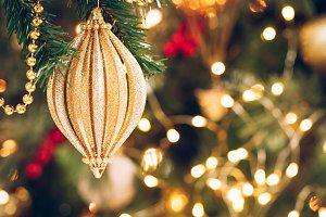 Seasonal Xmas golden toy background