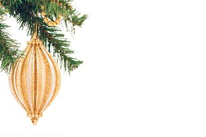 Xmas toy on the Tree isolated banner