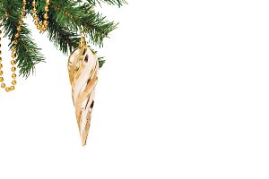 Christmas golden cone on white