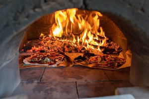 Pizza oven with flame, fire and