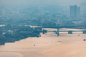Aerial view of Bangkok cityscape and