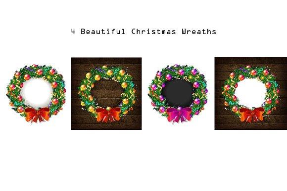 4 beautiful christmas wreaths graphics - Beautiful Christmas Wreaths