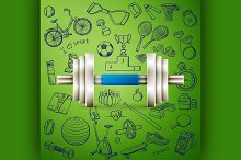 dumbbell and hand draw sport icon