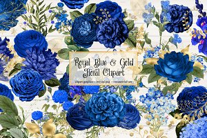 Royal Blue and Gold Floral Clipart