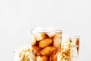 Sweet soda with ice cubes and carame
