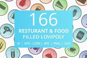 166 Restaurant & Food Low Poly Icons