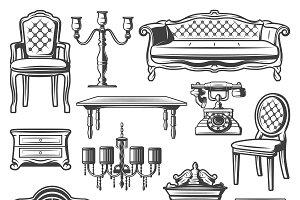 Vintage Furniture Elements Set