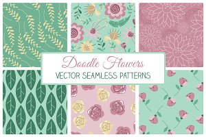 Doodle Flowers Seamless Patterns